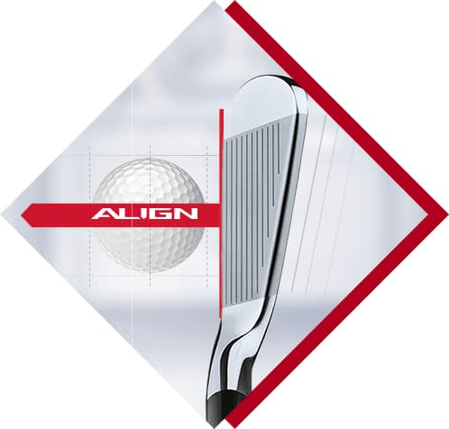 golf club hitting a golf ball with align grip
